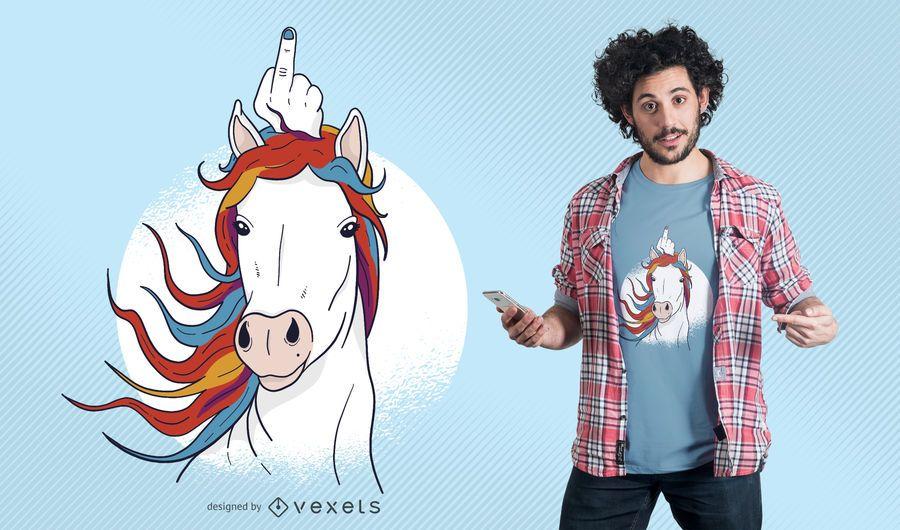 Unicornio diseño de camiseta de dedo medio