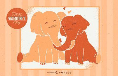 Ilustração de elefante dos namorados
