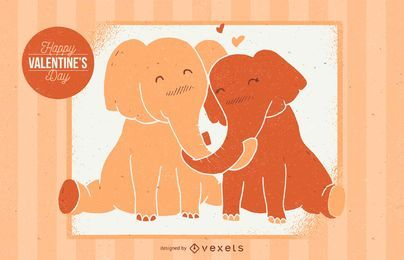 Valentine Elephant Illustration
