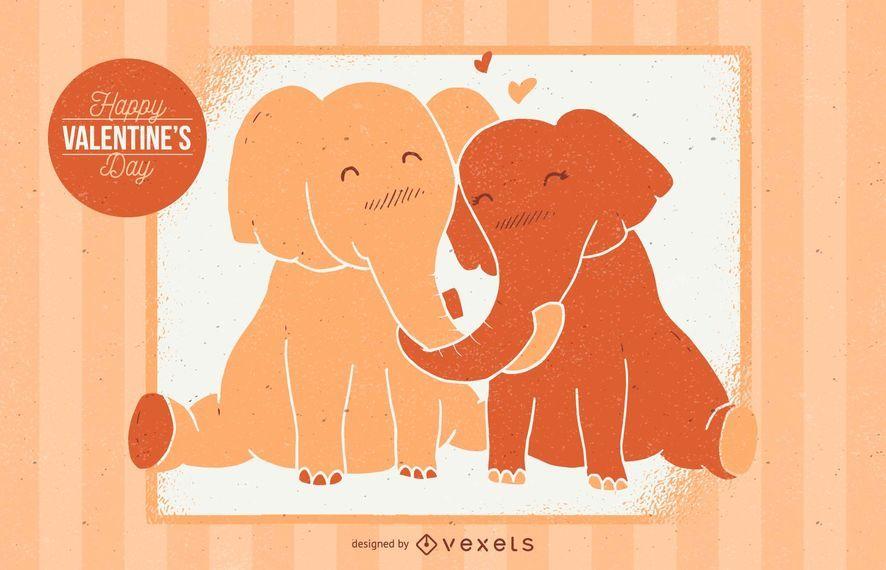 Ilustración de elefante de San Valentín