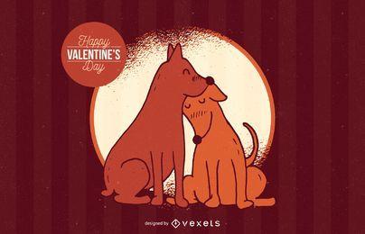 Ilustración de amor de perro de San Valentín