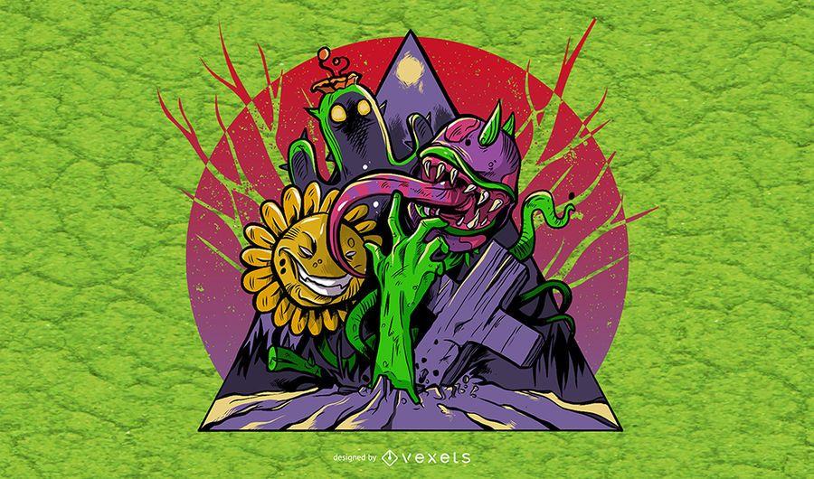 Ilustração de plantas e zumbis