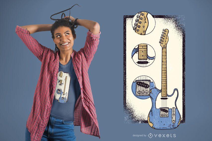 Telecaster Guitar Pieces T-Shirt Design