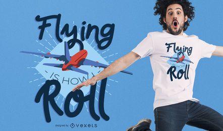 Diseño de camiseta de avión volador