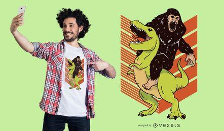Design de camiseta Big Foot e Dinosaur