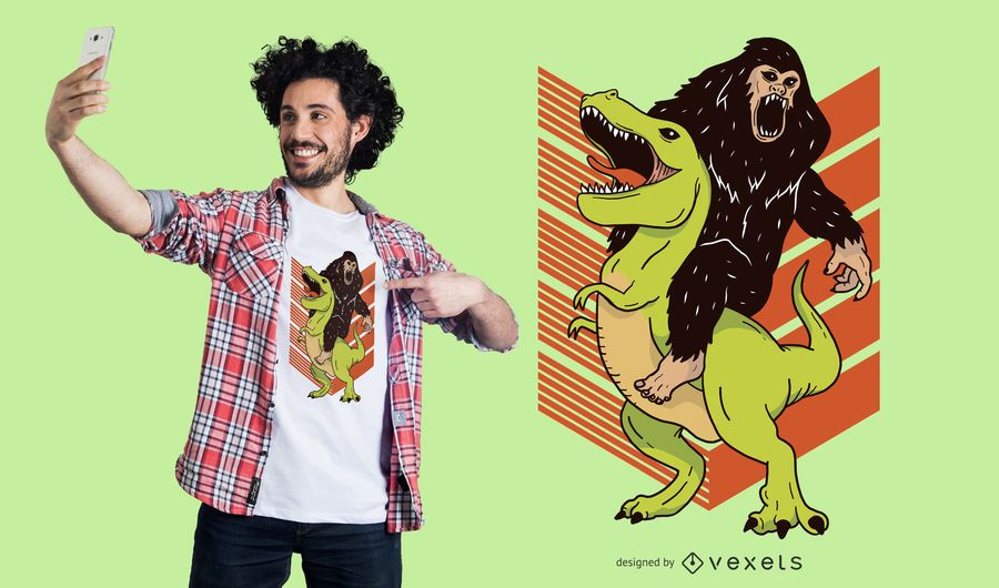 Big Foot & Dinosaur T-Shirt Design