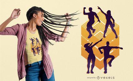 Diseño de camiseta de siluetas danzantes.