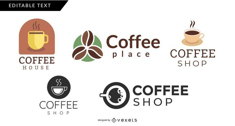 Conjunto de logotipo de lojas de café