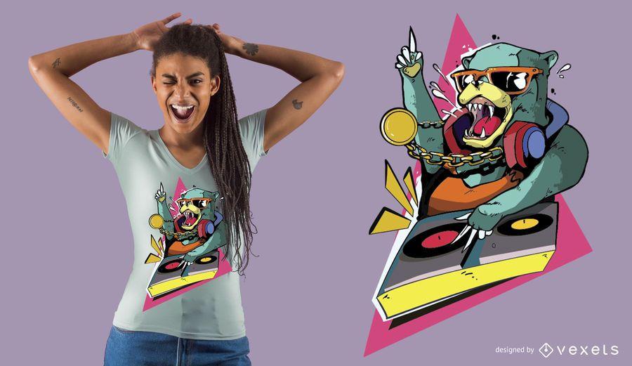 Projeto do t-shirt do DJ do urso