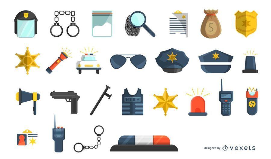 Flat police icon set