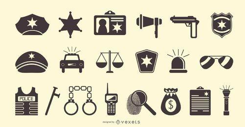 Conjunto de iconos planos de policía