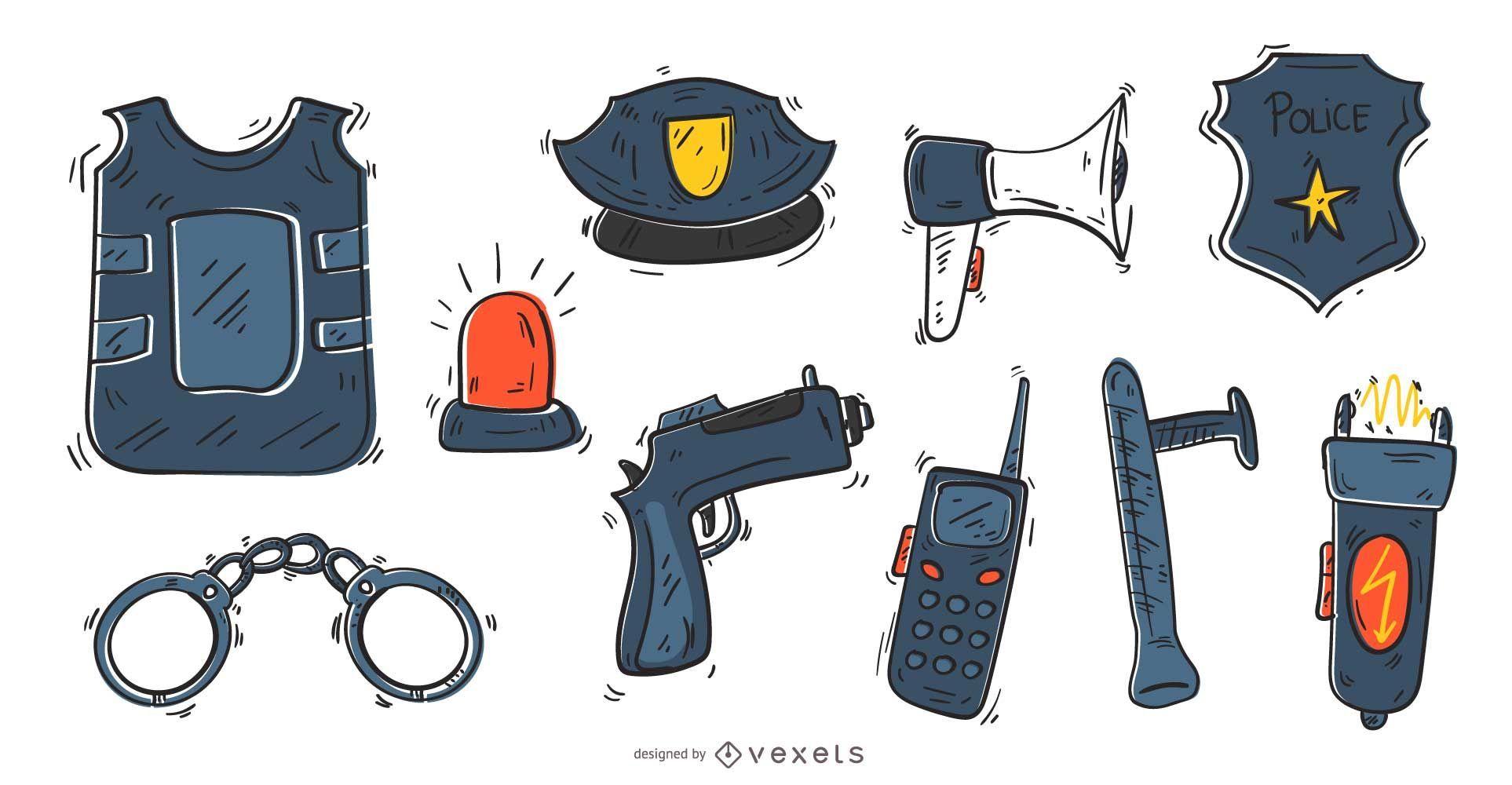 Police hand drawn icon set