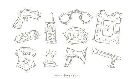 Polizei Icons Doodle Set