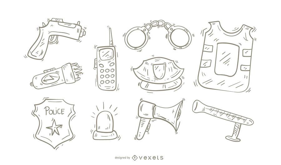 Conjunto de iconos de la policía Doodle
