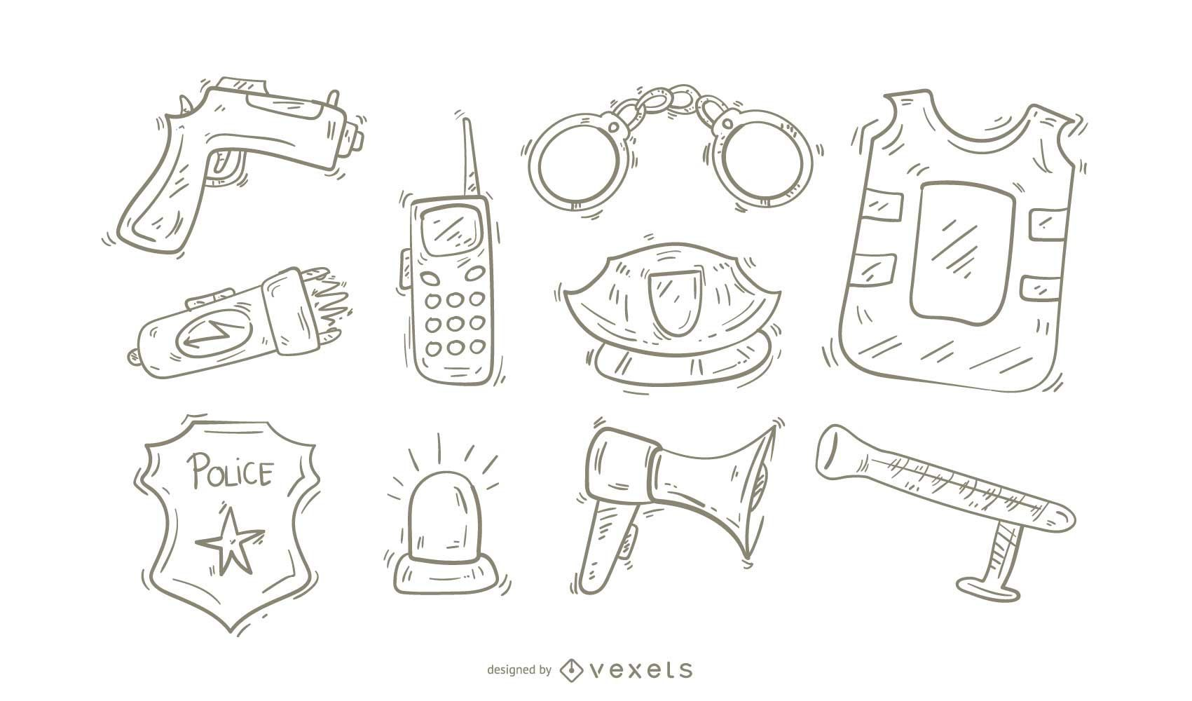 Police Icons Doodle Set