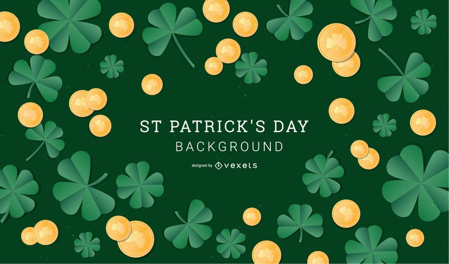 St Patrick's Day Clover and Coin Design