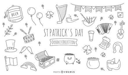 Día de San Patricio Doodle Icons Set