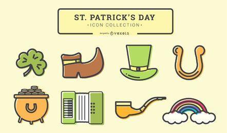 Conjunto de iconos de trazo del día de San Patricio