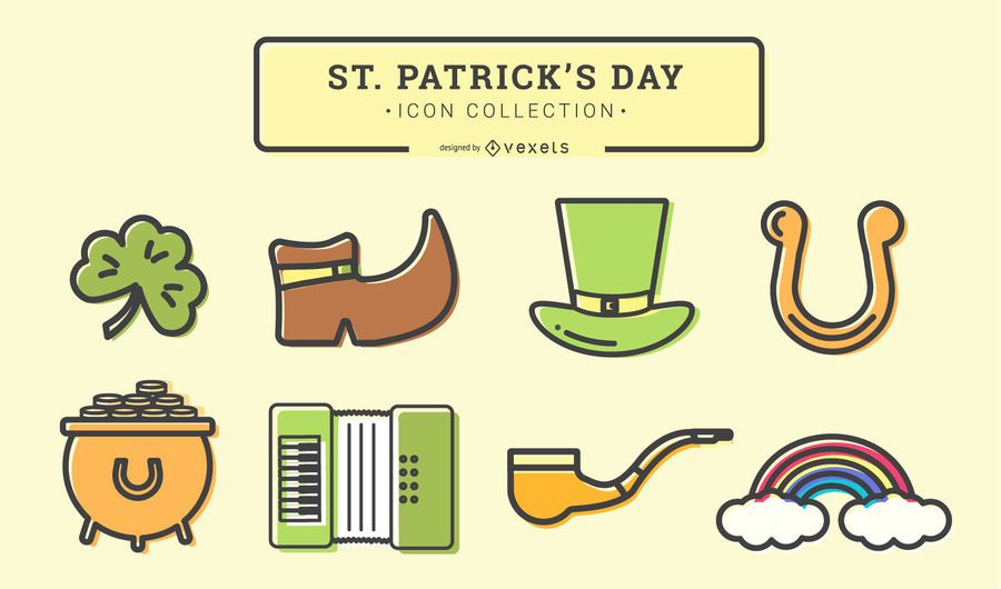 St Patrick's Day Stroke Icon Set