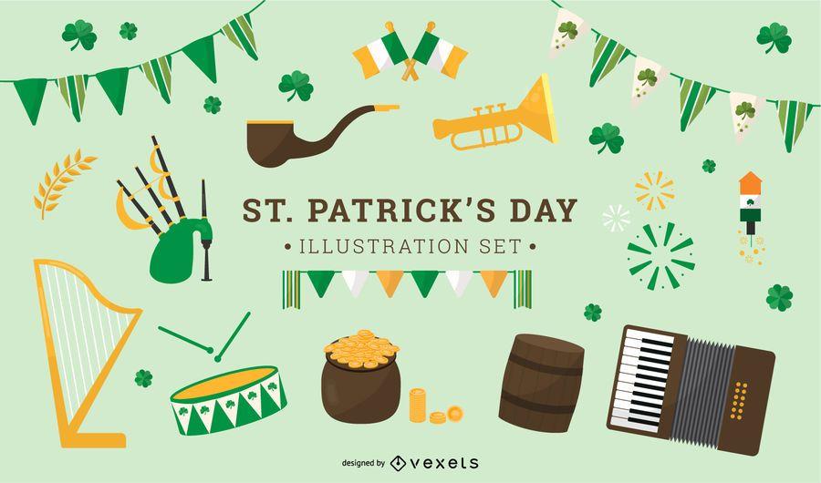 Conjunto de iconos planos del día de San Patricio