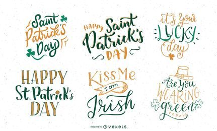 Conjunto de letras de dia de São Patrício