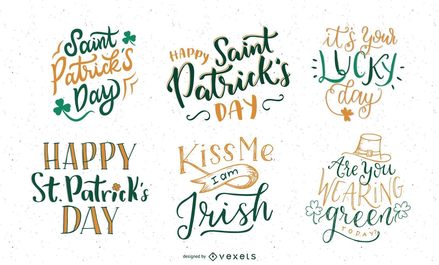 Saint Patrick's Day lettering set