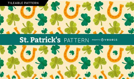 Saint Patrick's shamrock and horseshoe pattern