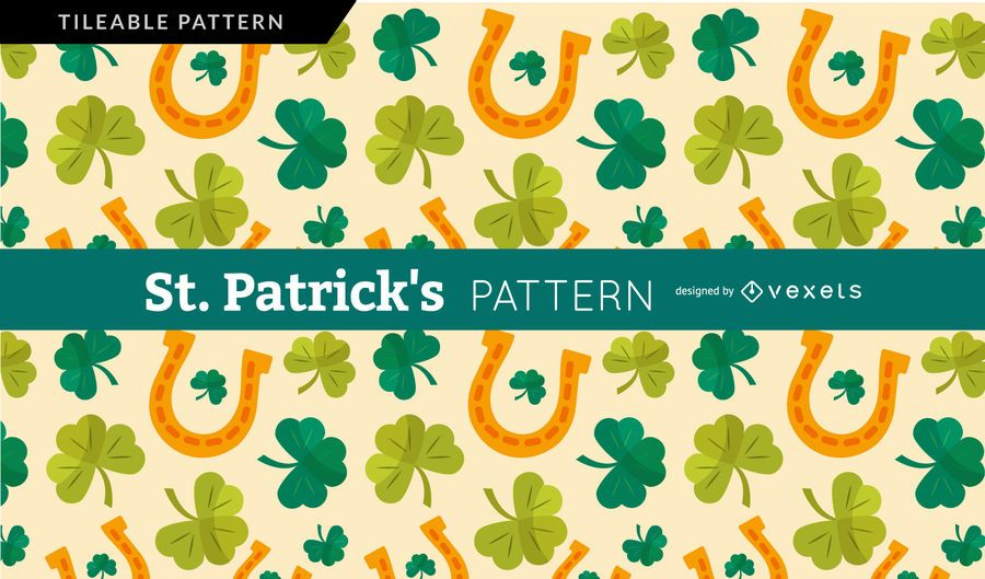 Saint Patrick's shamrock and horseshoe pattern