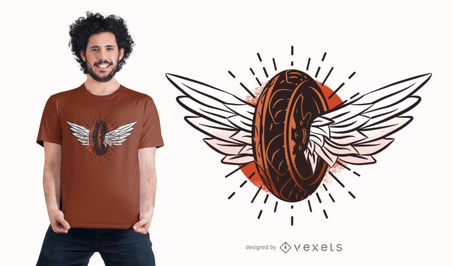Tire with wings t-shirt design