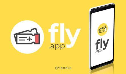 Voar app design de logotipo de viagens