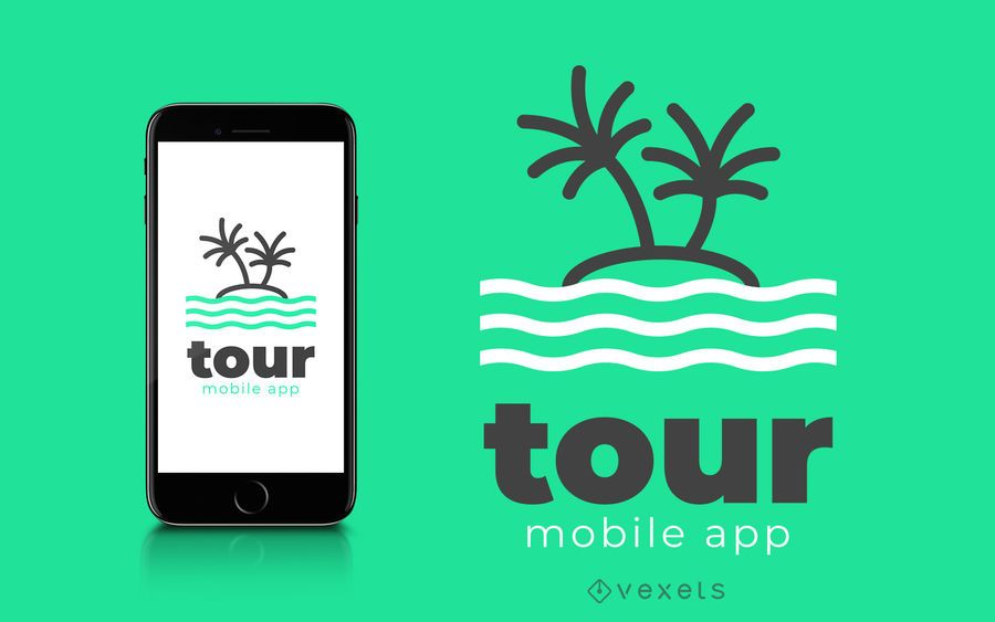 Tour design de logotipo de aplicativo móvel