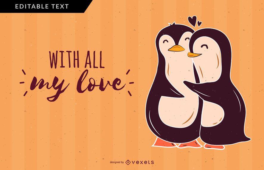 Desenho de vetor de amor de pinguins
