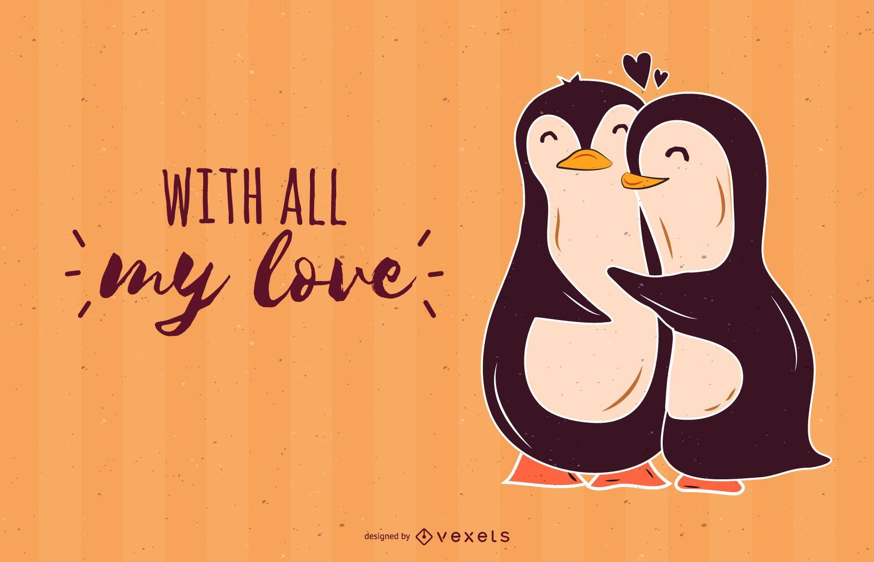 Penguins love vector design
