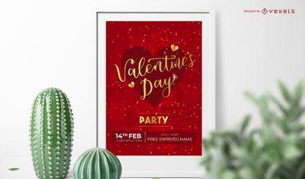Diseño de invitación de fiesta de San Valentín