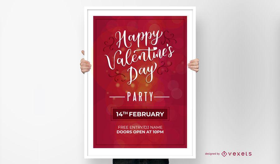 Invitación feliz del partido del día de tarjeta del día de San Valentín
