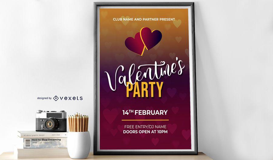 Partei-Entwurfsvorlage des Valentinsgrußes
