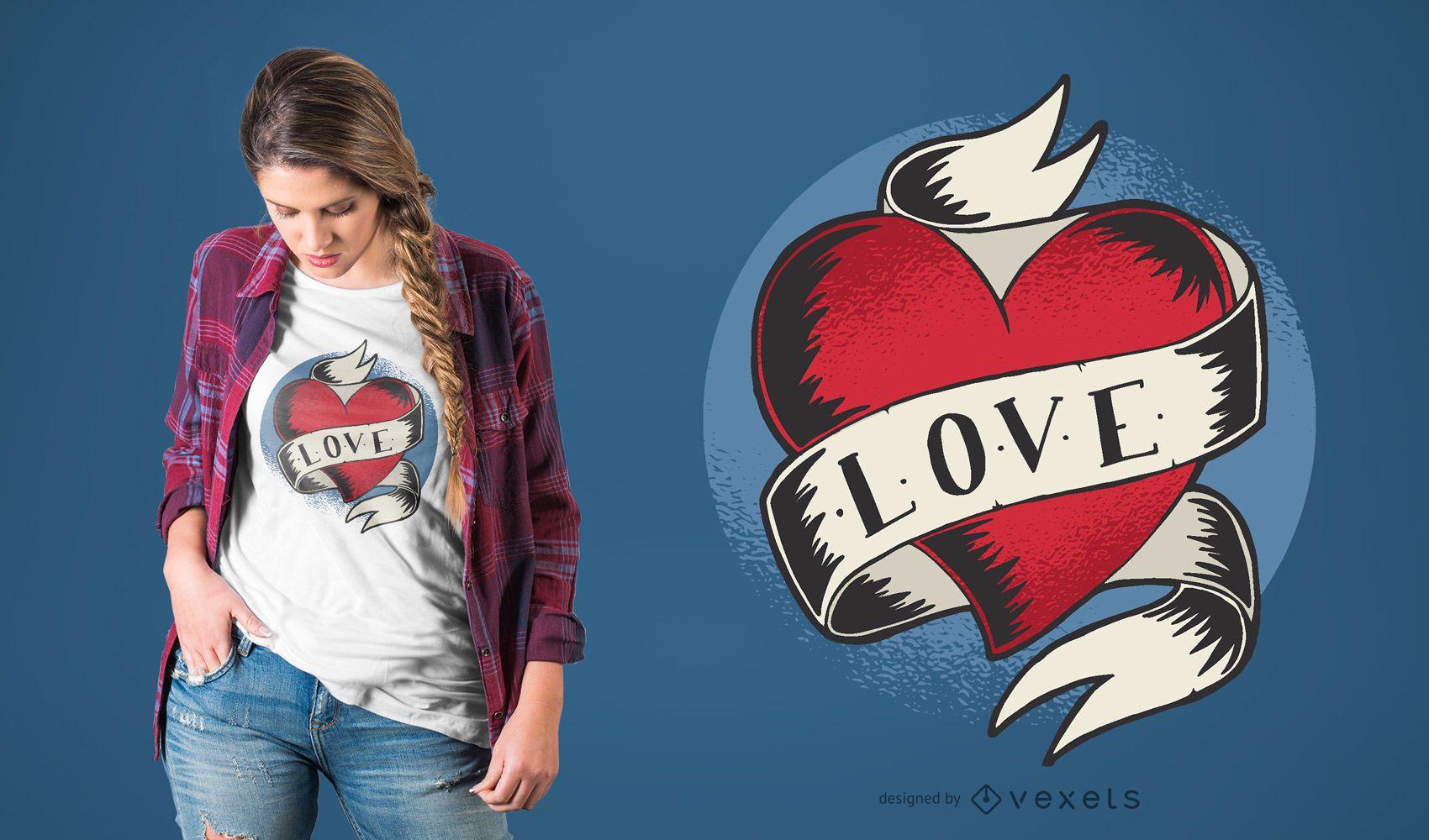 Diseño de camiseta de tatuaje de amor