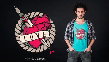 Diseño de camiseta Sword Pierce Heart.