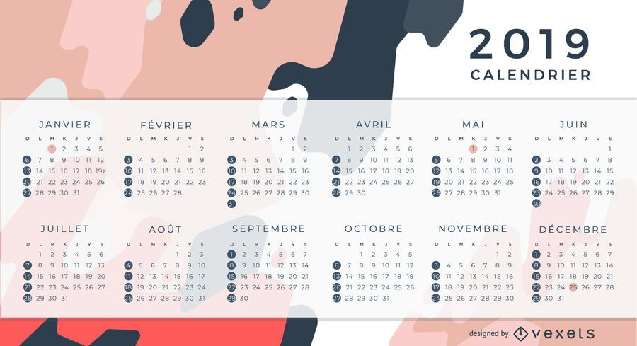 2019 French Calendar Design