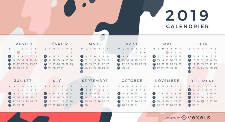 Projeto do calendário de 2019 franceses