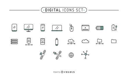 Conjunto de trazo de iconos digitales