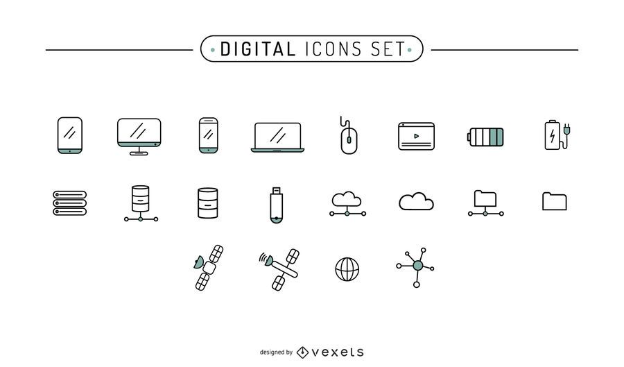 Digital Icons Stroke Set