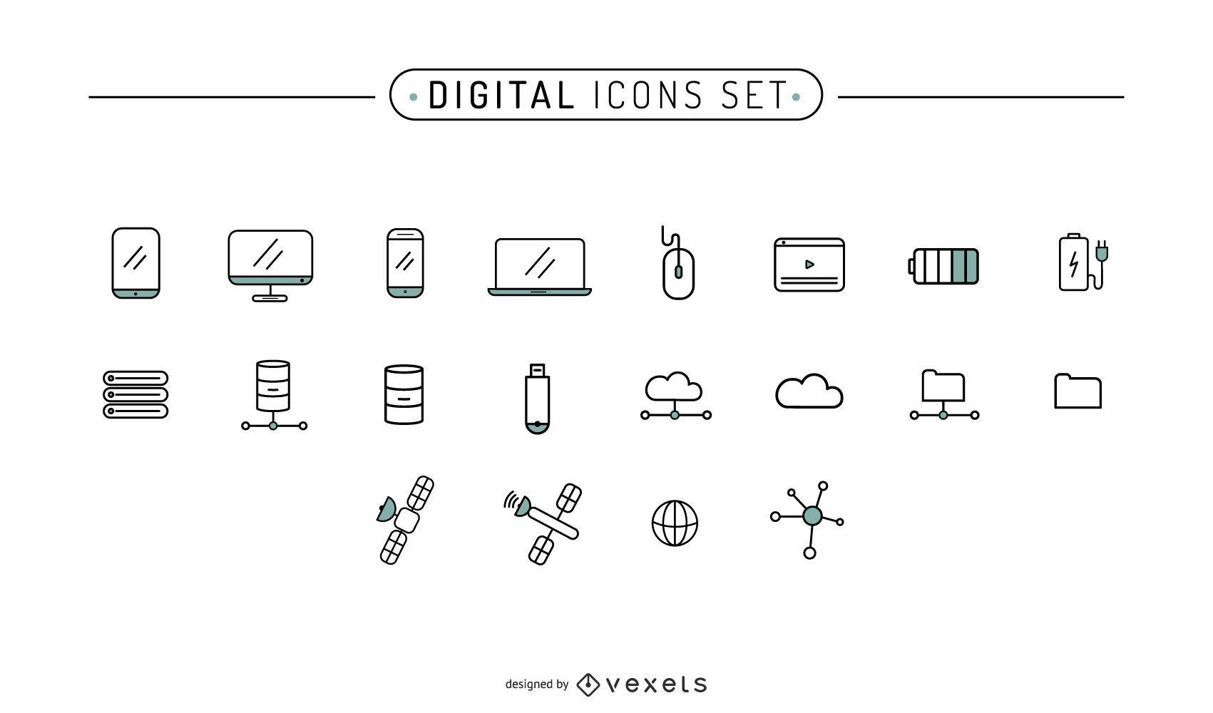 Conjunto de trazos de iconos digitales