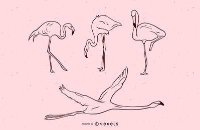 Conjunto de ilustração de golpe de flamingo