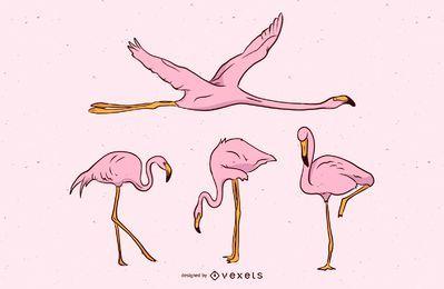 Conjunto de vetores de Flamingo rosa
