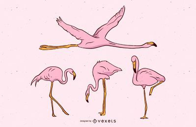 Pink Flamingo Vector Set