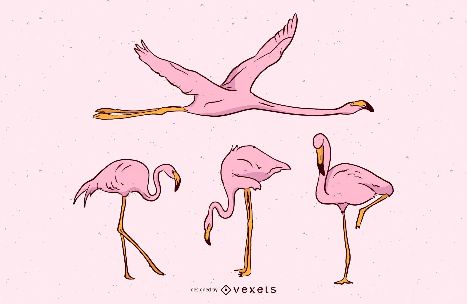 Pink Flamingo Vector Set