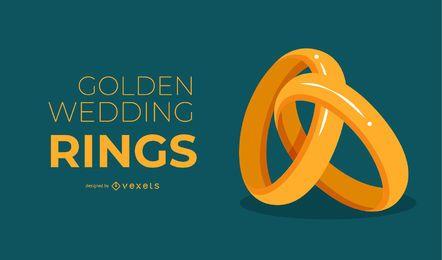 Diseño de fondo de oro anillos de boda