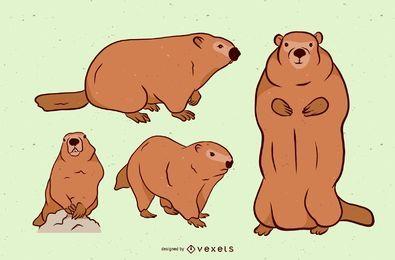 Conjunto de ilustración de marmota marrón