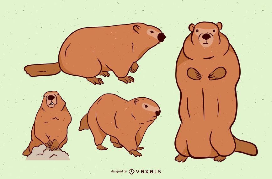 Brown Groundhog Illustration Set